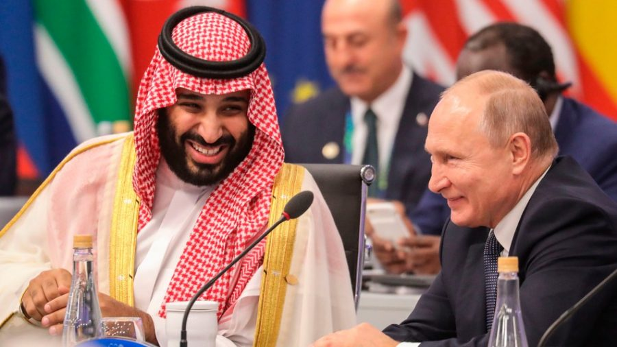 Russian+President+Vladimir+Putin+and+Saudi+Arabian+Crown+Prince+Mohammed+Bin+Salman+Meeting+at+the+yearly+G20+Leaders+Summit