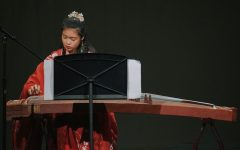 Sophomore Spring Ma performs on the guzheng at Taste