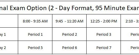 This is a copy of the two day schedule for this years finals, starting January 8th, and ending January 9th.