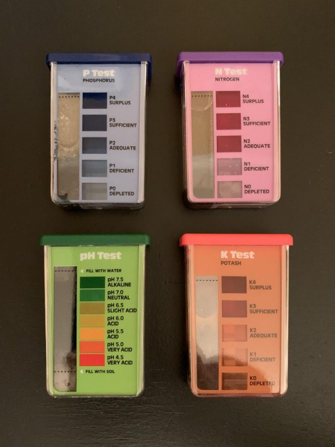 The four various vials to test soil