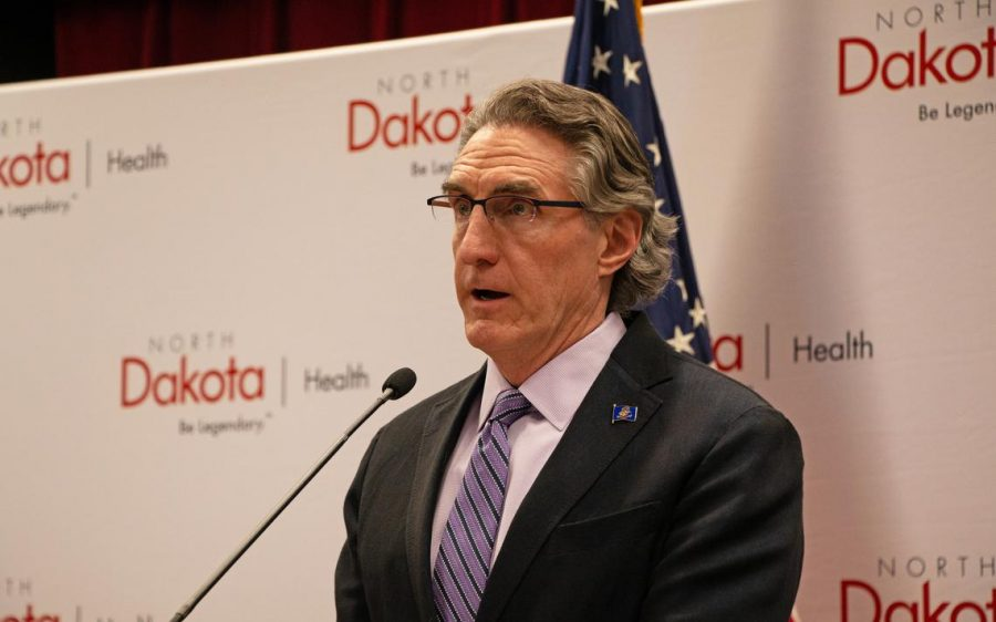Burgum speaking at one of his many press conferences as he discusses COVID-19 in the state.