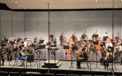 The ND All-State Orchestra rehearsing
